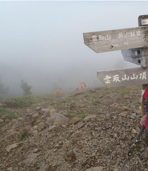 あとわずかで雲取山。 後方は、プロの山岳ガイドを雇って登頂していた中年のご夫婦。 きつそうでした。