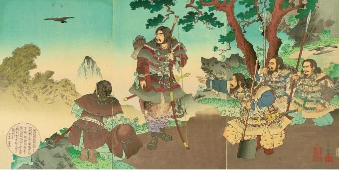 八咫烏(やたがらす)に導かれる神武天皇 安達吟光 画(明治時代)